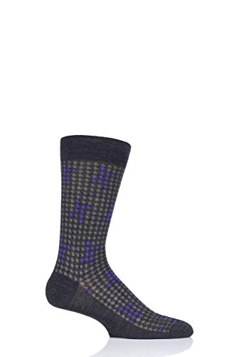 Pantherella Men's Mid Calf Hopton Houndstooth Highlight Dress Socks, Charcoal, - Dress Wool Houndstooth