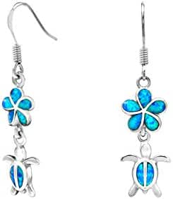Sterling Silver Turtle Flower Hook Earrings with Simulated Blue Opal