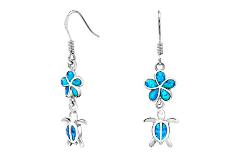 Sterling Silver Turtle Flower Hook Earrings with Simulated Blue ()