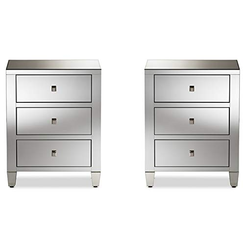Urban Designs Madrid Glamour Style Mirrored 3-Drawer Nightstand