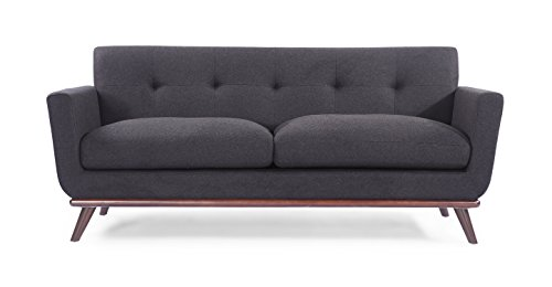 "Kardiel Jackie Mid-Century Modern Classic Loveseat, Charcoal Cashmere Wool - Brand: KARDIEL; Hardwood Frame: Kiln Dried Solid hardwood frame; Seat Platform: Metal Sinuous No Sag ""S Coil"" Suspension System Encased In High Density Foam; Upgraded Comfort: Down Feather stuffed cushions you can sink into; Foam Type: Multi-density foam seat & back cushion wrapped in silk layer provides comfort & cushion memory. Seat Cushion Style: Removable seat cushions feature rear zippers; Cushion feature:2 piece expansive length seat cushions; Stitch Edge Type: Matching streamlined piping; Tufting Type: Single back row Blind tufting Fabric Type: Tweed in a premium Cashmere Wool Blend: 50% Cashmere Wool, 50% Synthetic Fibern; Back Style: Fitted stationary single piece back; Design Feature: Solid varnished wood undercarriage with splayed legs - sofas-couches, living-room-furniture, living-room - 31mHvGDER4L -"