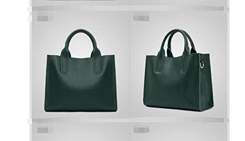Los nuevos bolsos de cuero de moda, gran bolsa de cuero sencilla, Sra portátil, el hombro, la bolsa de mensajero Dark green