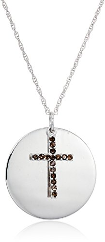 Sterling Silver Smoky Quartz Cross Lord's Prayer Pendant Necklace ()