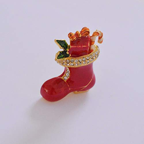- Gold Plated Colorful Enamel Snowman Santa Christmas Tree Bell Brooch Pin Jewelry | Shape - Red Boot
