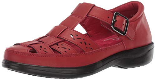 Easy Street Women's Dorothy t-Strap Comfort Casual Mary Jane Flat, Red, 8.5 M US