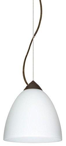 Besa Lighting 1KX-447007-BR 1X60W A19 Vila Pendant with Opal Matte Glass, Bronze Finish