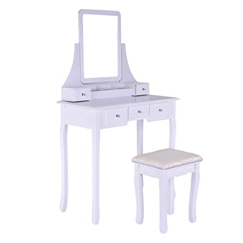 Sonmer Vanity Set with Mirror, Cushioned Stool, Storage Shelves, Drawers Dividers ,3 Style Optional, Shipped from US - Two Day Shipping (#1, White) by Sonmer (Image #8)
