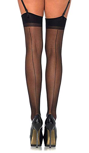 PARK AVENUE Sheer Nylon Stockings with Back Seam Black for sale  Delivered anywhere in Canada