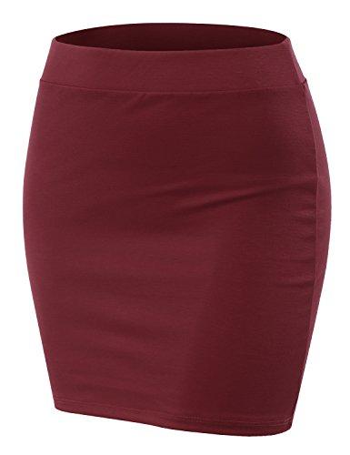 Doublju Stretch Knit Bodycon Mini Skirt for Women with Plus Size Wine ()