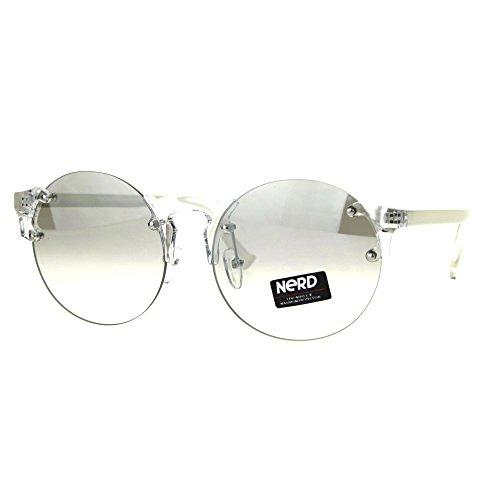 Nerd Round Rimless Hipster Clear Horn Rim Plastic Eye Glasses - Hipster Glasses White