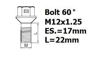 Stil HEYNER Bull pernos de bloqueo de rueda M12x1,25 L=22mm A1