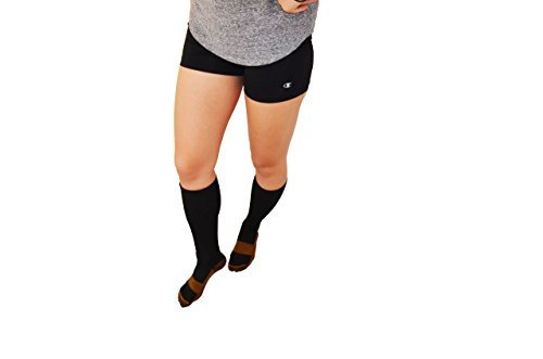 Copper Active Compression Socks - Premium Comfort Calf Socks - Boost Circulation & Reduce Swelling - Reduce Varicose Veins & Control Foot Odor - Anti-fatigue & Anti-microbial, (Unisex Size S/M) 1 Pair