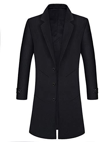iCKER Mens Trench Coat Winter Wool Blend Jacket Overcoat Long Top Coat Warm Pea Coat-1902-Black-M