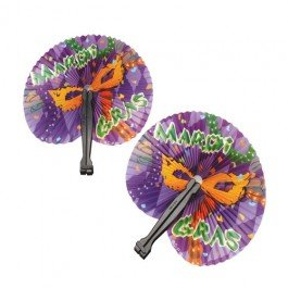 24 Mardis Gras Paper Folding Fans~Party -