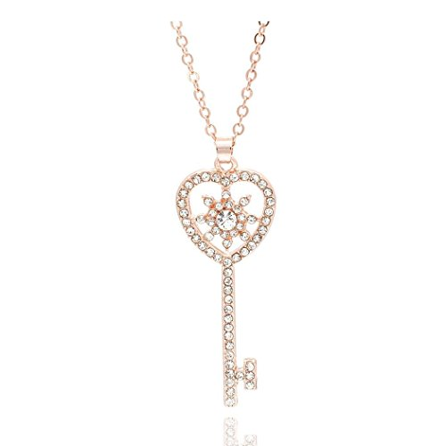 (Women Metal Rhinestone Crystal Fashion Jewelry Long Chain Pendant Necklace (gold))