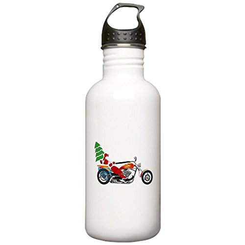Stainless Water Bottle 1.0L Holiday Biker Santa on his Motorcycle/Chopper ()