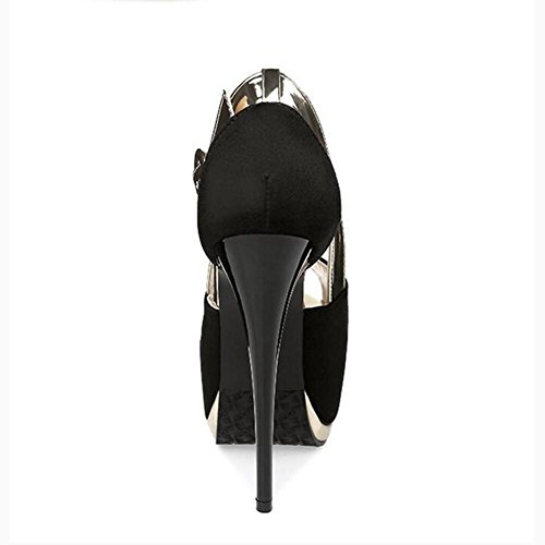 14cm Nightclub Waterproof Fish Black Women'S Heels Fight With Color High Head Table Sandals YIYpExR