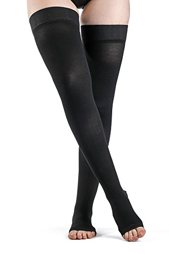 High Toe - SIGVARIS Women's Access 970 Open-Toe Thigh High Medical Compression 20-30mmHg