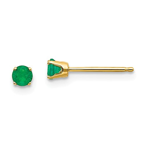 Emerald Earing Stud - 14k Yellow Gold 3mm May/emerald Post Stud Ball Button Earrings Birthstone May Prong Fine Jewelry For Women Gift Set