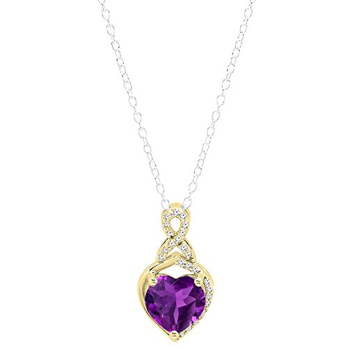 18k White Gold Amethyst Pendant (18K Yellow Gold 8 MM Heart Shaped Amethyst & Round White Diamond Ladies Heart Pendant)