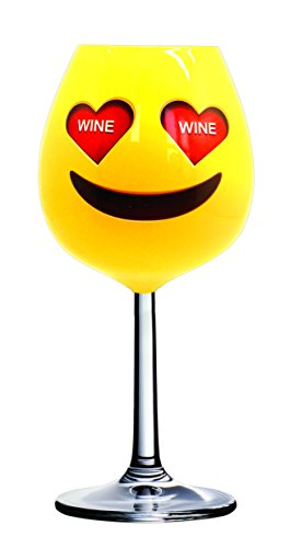 DCI Unique Wine Glass, Extra Large, Heart Eyes, Emoji, 750ml Capacity, Holds an Entire Bottle of Wine (Heart Bottle Large)