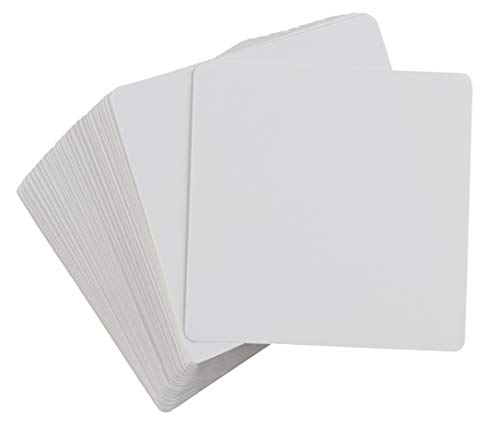Blank Playing Cards - 400-Piece Dry Erase Cards, Reusable Flash Cards, Whiteboard Cards, for DIY Game Card, Students, School, Classroom, Memory Game, Square Size, 3.125 x 3.125 Inches ()
