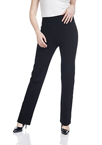 omfy Stretch Pants Ladies' Casual Pull On Leggings Rayon Trousers by (Nylon Stretch Leggings)