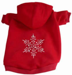 Crystal Snowflake Dog Hoodie Hooded Sweatshirt - Red Large (14