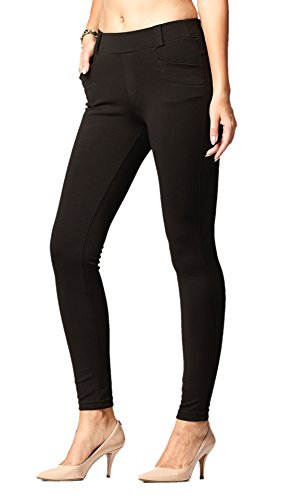 Conceited Premium Women's Stretch Dress Pants - Slim Or Bootcut - All Day Comfort in Solids and Pinstripes by (Small, Slim Black (Black Pinstripe Pants)