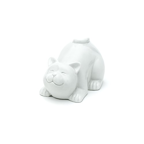 "Ceramic ""Happy Cat"" Piggy, Coin Bank (Lying, White)"