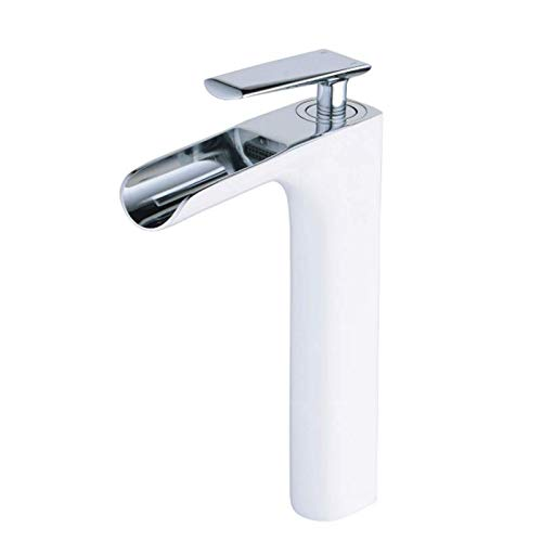 Waterfall Mixer Faucet Single Handle Bathroom Sink Faucet high Mono Faucet, Polished Chrome and White Painting, Brass Construction