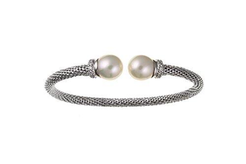 Zircon cubique argent Sterling et perle de culture de bracelet en maille