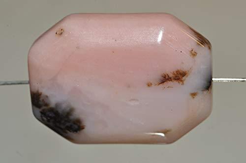 ✦ Bella-gems ✦ One 18x25x8mm Inca Treasure~Pink Peruvian Opal Beveled-Cut Long Octagon Bead Pendant - ()