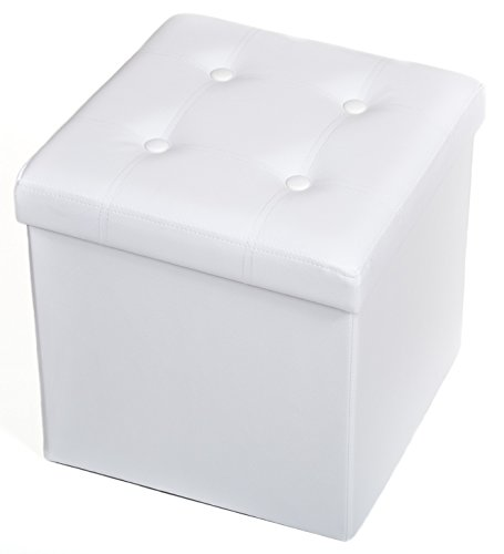 The FHE Group Tufted Folding Storage Ottoman, 15 by 15 by 15-Inch, White Faux Leather