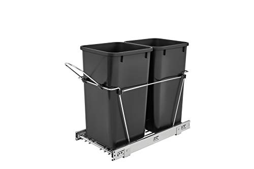 Rev-A-Shelf - RV-15KD-18C S - Double 27 Qt. Pull-Out Black and Chrome Waste Container (Computers Inside And Out Hardware On The Inside)