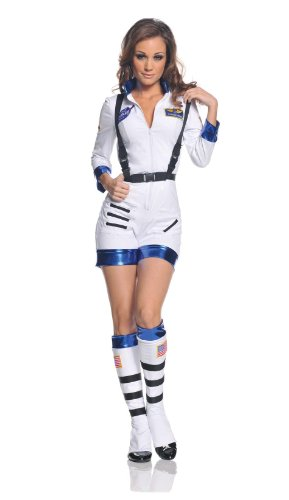 [Underwraps Women's Rocket, White/Blue, Large] (Cute Costumes For Couples)