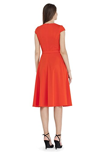 VILONNA Dress Neck Sleeves Party Midi Belted Work with Short Elegant Cocktail Pockets Cap Coral Women's V rY7wr