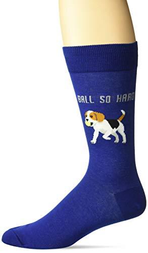 Hot Sox Men's Animal Series Novelty Casual Crew Socks, Ball Stone Hard (Dark Blue), Shoe Size: 6-12