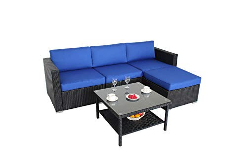 Outdoor Black Rattan Wicker Sofa Set Garden Patio Furniture Cushioned Sectional Conversation Sets-Easy Assembled