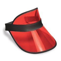 Plastic Visor (Clear Red Plastic Dealer's Visor Party Accessory (1 count))
