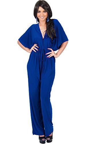 (KOH KOH Womens Short Kimono Sleeve V-Neck Casual Sexy Wide Leg Long Pants One Piece Jumpsuit Jumpsuits Pant Suit Suits Romper Rompers Playsuit, Cobalt Royal Blue M 8-10)