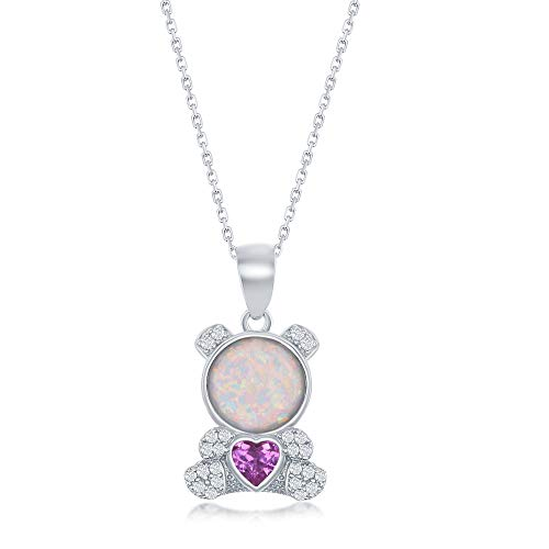 Sterling Silver Created White Opal and CZ Teddy Bear Pendant -
