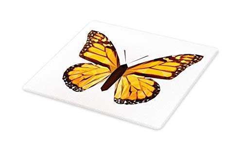 Lunarable Amber Cutting Board, Creative Graphic of Mosaic Butterfly, Decorative Tempered Glass Cutting and Serving Board, Large Size, Dark Brown Amber and Marigold