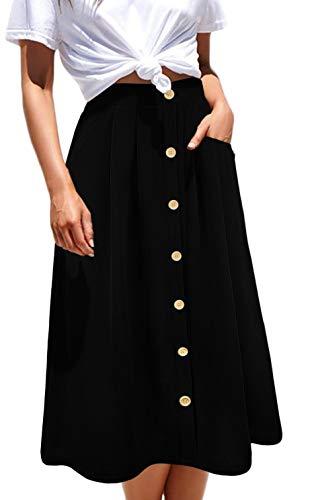 Aifer Womens High Waist A-Line Button Down Vintage Midi Chiffon Pleated Skirt with Pockets (Chiffon Pocket)