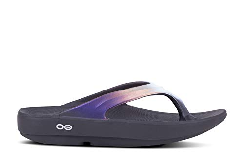 Shoes Kids Flat Black Satin - OOFOS - Women's OOlala Satin - Post Run Sports Recovery Thong Sandal - Black/Calypso - W8...