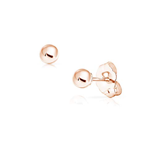 SOLIDGOLD - 14K Gold Filled Ball Stud Earrings Dazzling Rose Gold | -