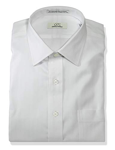 COOPER & STEWART Men's Classic Fit Non-Iron Herringbone Spread Collar Dress Shirt | White 17 X 34/35