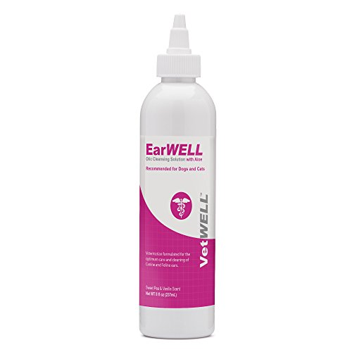VetWELL Cat and Dog Ear Cleaner - Otic Rinse Dog Ear Infection Treatment for Yeast, Mites and Odor in Pets - 8 oz (Sweet Pea Vanilla)