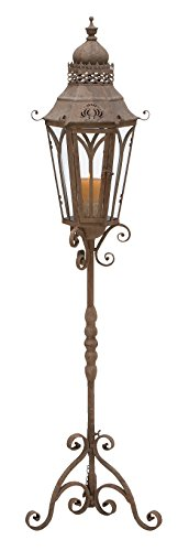 Deco 79 Metal Glass Lantern Stand, 56 by 15-Inch - Crown Iron Sculpture
