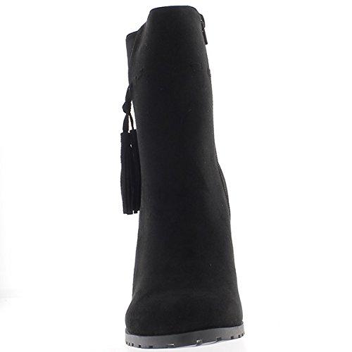 Große Frau Größe schwarze dicke Ferse 9,5 cm Aspekt Wildleder mit Fransen-Stiefel